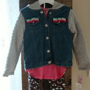Little Lass Matching Sets - 4T 3pc Little Lass outfit 🌈 Jean Jacket ✨ NWT